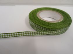 Leaf Green 2 metres or full roll x 5mm Gingham Ribbon Double Sided check UK